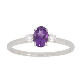 Amethyst & Diamond 3 Stone