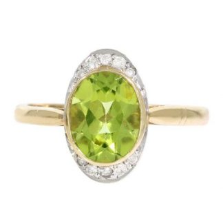 Peridot & Diamond Ring