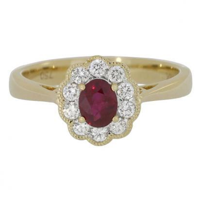 Yellow Gold Ruby & Diamond Cluster