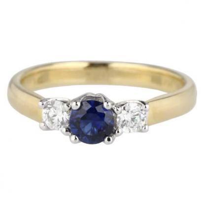 round sapphire 3 stone