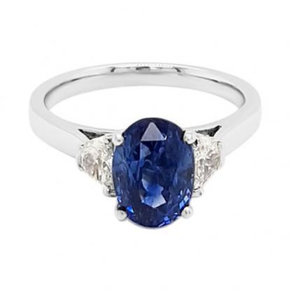 Sapphire and half moon diamonds