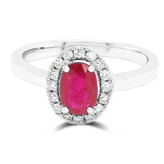 Oval Ruby Cluster