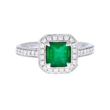 Emerald Diamond Halo Ring