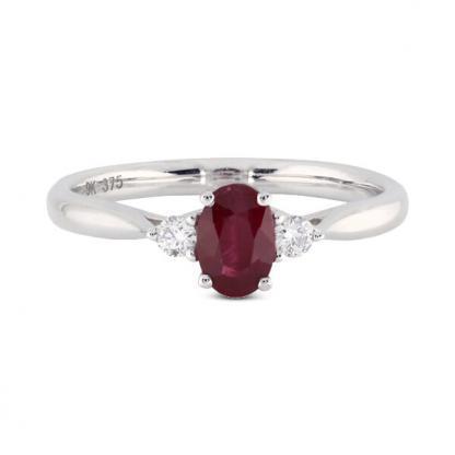 white gold ruby 3 stone ring